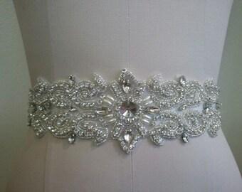 SALE - Wedding Belt, Bridal Belt, Sash Belt, Crystal Rhinestone & Off White Pearls - Style B885