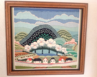 Framed Needlework Landscape. Mountain Valley Scene.