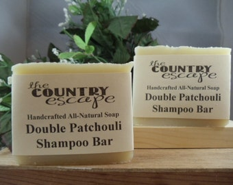 Double Patchouli Shampoo Bar - Handcrafted with Jojoba and Argan Oils -Lathers Great- Gentle & Moisturizing- Organic - Vegan - Paraben Free