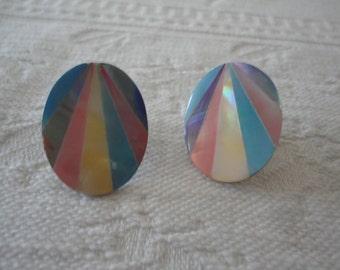 Mother Of Pearl Pastel Inlay Vintage Pierced Oval Ladies Earrings