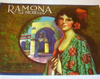 Ramona Crate Label Oringinal 1930's
