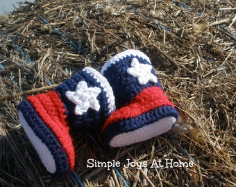 Texas Baby Crocheted Cowboy Boots // Western Infant Boots // Baby Booties // Texas Theme // Lone Star State Boots // Photo Prop
