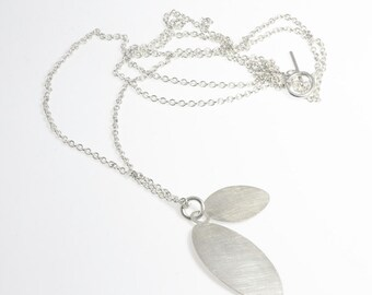 LEAF L - beautiful leaf pendant with chain, 925 sterling silver or blackened sterling silver