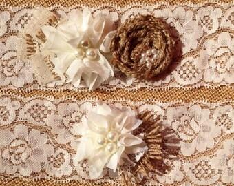 Rustic Garter, Ivory garter