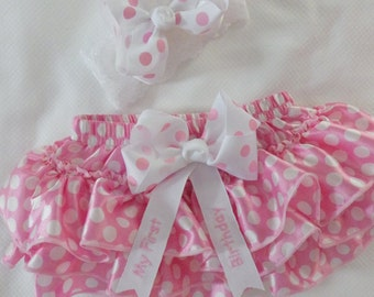 Baby Girl First Birthday Outfit. Skirt/Bloomers w Embroidery. Cake smash. Girl Birthday