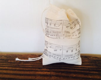 Music Sheet Muslin Favor Bag Country Wedding Rustic Birthday Gift Bag Stamped Set of 10