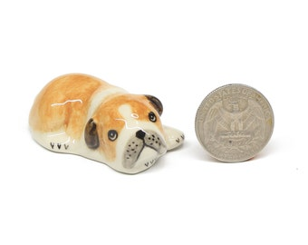 Miniature  Animals Ceramic Crawling Puppy Bulldog Dog Ceramic Hand painted