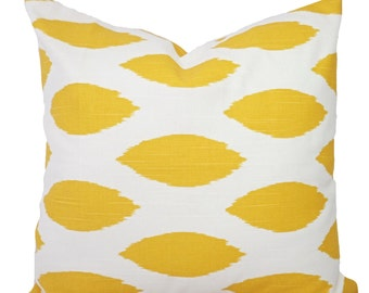 Yellow Throw Pillow - Yellow and White Pillow Covers - Yellow Pillow Cover - Ikat Couch Pillow - Yellow Accent Pillow