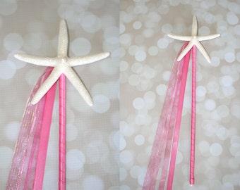 Hot Pink Mermaid Starfish Birthday Wand/Beach Wedding Decor/Bridesmaid Flowergirl/Beach Wedding Aisle Decor-Many Colors To Choose-One Wand