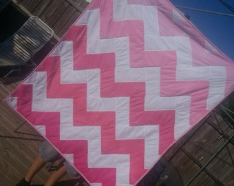 Ombre Pink Chevron Quilt