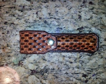 Basket weave Leather Flashlight pouch