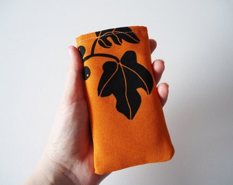 iPhone 5 and 5S sleeve, orange phone sleeve with leafs