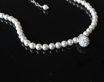 Swarovski Pearl Necklace, Swarovski Pearl Pave Crystal Pendant Necklace,  Bridal Necklace , Wedding Necklace