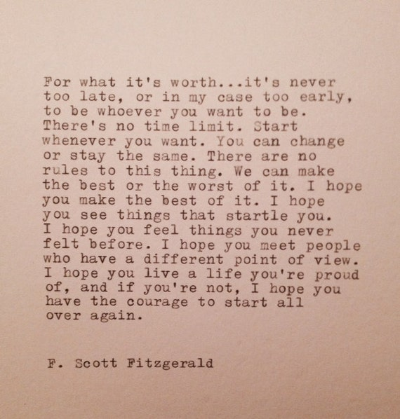 F. Scott Fitzgerald Ha...F Scott Fitzgerald Quotes For What Its Worth