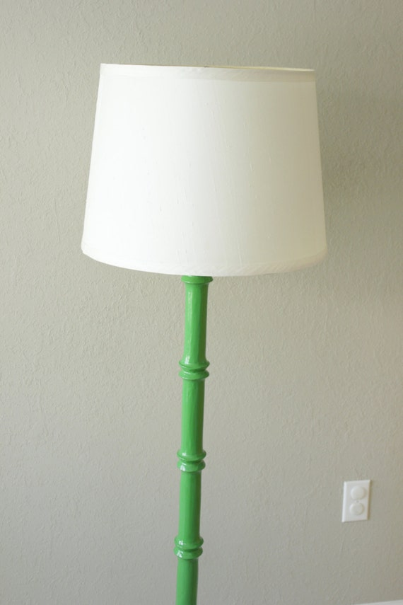 emerald green faux bamboo wood floor lamp With green wood floor lamp