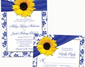 Sunflower Royal Blue Yellow Damask Floral Ribbon Wedding Invitation and RSVP Reply Card Printed