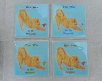 Golden Retriever Coasters - Set of 4 - for Margarita Lovers - Handmade Coasters - Dog Coasters