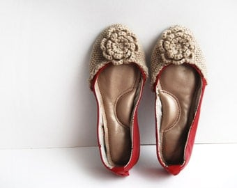 Handmade leather ballet flat shoes cherry red woven wool custom made