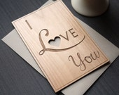 I Love You Wood Card - Wedding Anniversary Greeting Card - Typography Cards