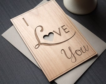 I Love You Wood Card - Wedding Anniversary Greeting Card - Valentines' Day Card - Typography Cards