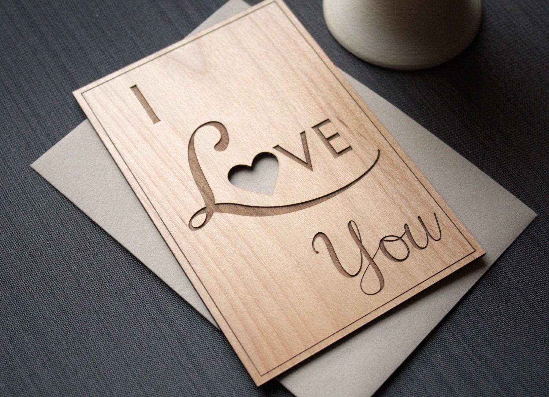 Wood Wedding Anniversary Gift: I Love You Wood Card Wedding Anniversary Gift By IndigoEmber