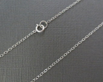 925 Sterling Silver Chain Link Necklace, Flat Cable Chain Necklace 15, 16, 17 or 18 inches--Finished Chain--Everyday Necklace