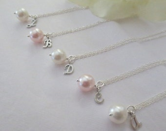 Set of 5-Personalized Pearl Alphabet Charm Necklace in STERLING SILVER CHAIN--Bridesmaid Jewelry-Weddings Gift-Perfect Gift-Birthday Present
