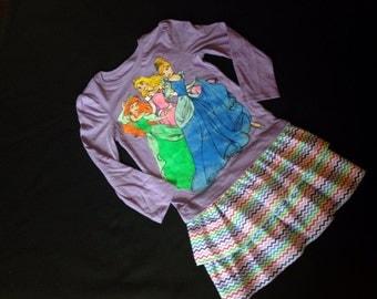 On sale RTS Size 4T- Custom Princesses tshirt chevron ruffle dress