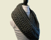 Extra Long Infinity Scarf Cowl USA Hand Made Crochet Chunky Infiniti Choose YOUR Color Oatmeal, Cream, Blue, Black, Purple, Gray or Other