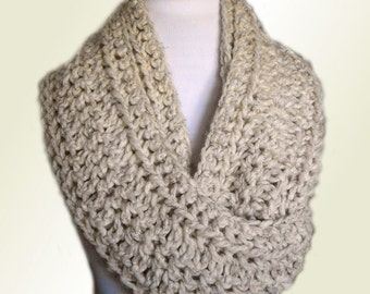 INFINITY SCARF Cowl Knit Scarf Crochet Womens Scarves Mens Infinity Scarf Infiniti Scarfs Neutral Wheat Chunky Hand Made in USA Wool Scarf
