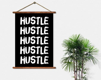 BUY 2 GET 1 FREE Typography Print, Type Poster, Motivational Poster, Black White, Office Decor, Hustle, Type Decor - Hustle Hustle Hustle