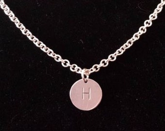 Sterling Silver Custom Round Initial Pendant Necklace