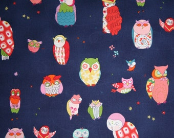 Sale Owl Fabric - SPOTTED OWL in  Midnight Blue from Alexander Henry Fabrics - In the Kitchen Owls 1 yard