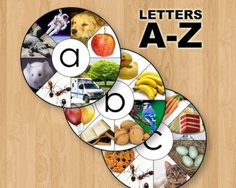 A-Z Digital Printable Montessori Letter / Sound Wheels