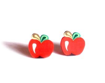 Red apple earrings, red apple studs, apple earrings, cute earrings, girls first earrings, fruit studs, Cute studs, gifts for girls, apples