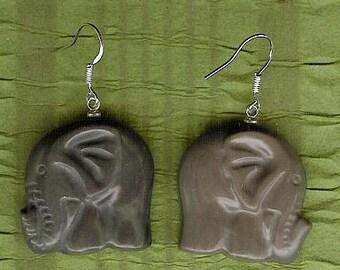Earrings - Carved Ribbon Jasper Elephants, Sterling Silver