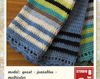 Crochet guest towel - denim blue with beige, off white, green and blue stripes in soft 100% cotton