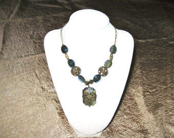 Vintage Blue Crystal with Brass Chain