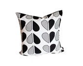 """Op Art Heart Throw Pillow Cover - 20"""" x 20"""" - Black and White"""