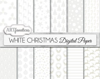 "White Christmas Digital Papers Background ""WHITE CHRISTMAS"" with snow, candy cane,trees, stars, reindeers for scrapbooking,invitations,cards"