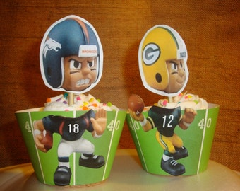Greenbay Pakers cupcake wrappers and toppers-set of 12