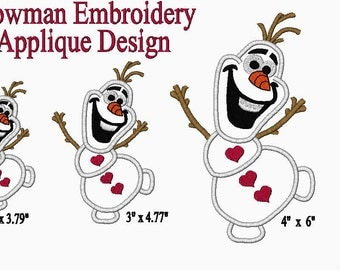 Frozen Embroidery Olaf Applique Embroidery Design doll size embroidery