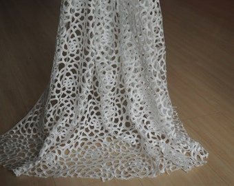 "White Lace Trim Hollow Out  Lace Wedding Fabric 45.28"" Width 1 Yard RC014"