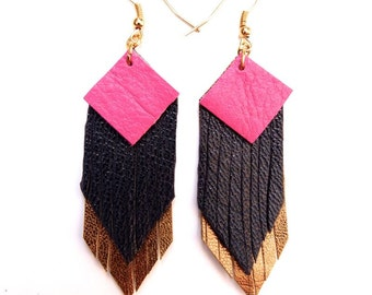 Fringed geometric tassel eco leather earrings, in Hot Pink, Navy and shimmering dark gold hand-cut layers