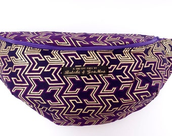 Bumbag Fanny pack Hip bag in Deep Purple, gold & violet, with Gold Z-print detail, African fabric