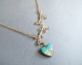 Gold  and Turquoise Branch Heart Necklace - Adjustable Necklace - Bridesmad Gift