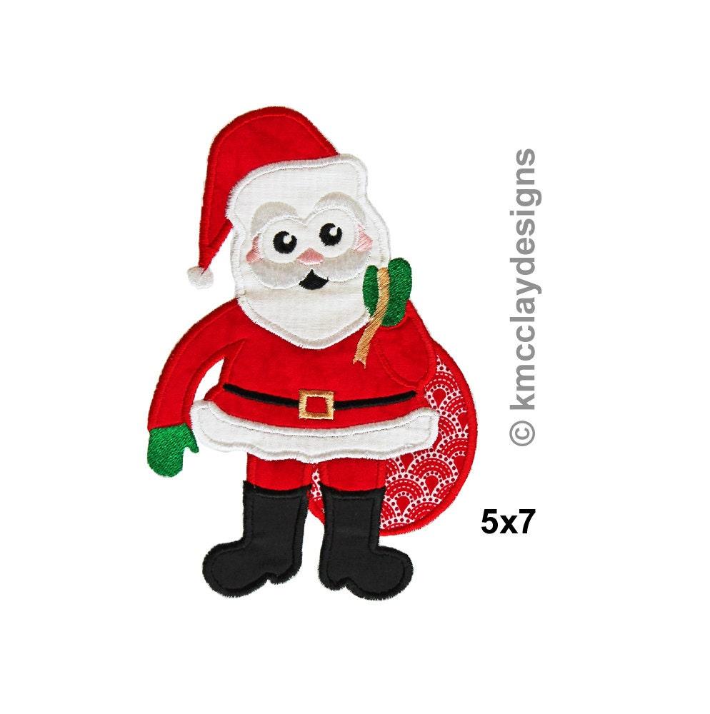 Santa applique machine embroidery design instant