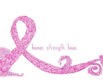 Ponder Pink Ribbon _6x4_ notecards
