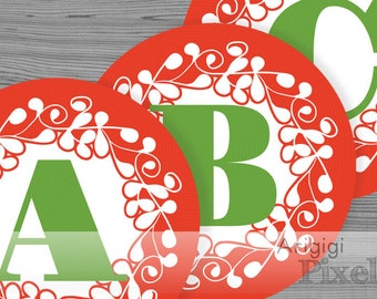 large alphabet circles, number circles, Christmas red, ornate design, printable PDF file, party garland letters, alphabet download