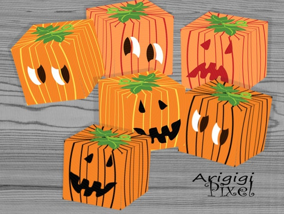 Halloween treat box, pumpkin cube gift box, set of 6 candy box template, printable PDF file, DIY gift packaging, download template